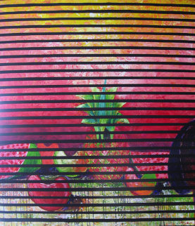 Pineapple Fruit Acrylic with Linen 1992 47x43 Original Painting by Vladimir Cora