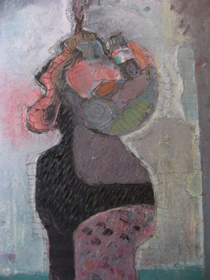 Woman of the Street 1988 34x23 Original Painting by Vladimir Cora