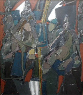 Las Senoritas De Tac 1984 77x70 Original Painting - Vladimir Cora