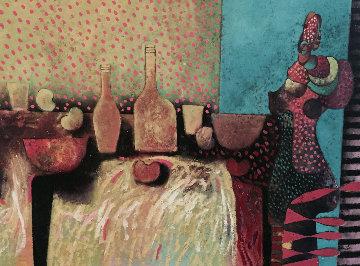 La Fonda 1991 61x83 Original Painting - Vladimir Cora
