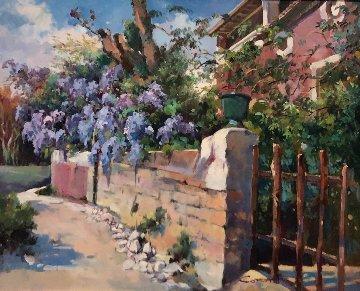 Glycine Au Pont De Gard 2000 19x22 Original Painting by  Cora