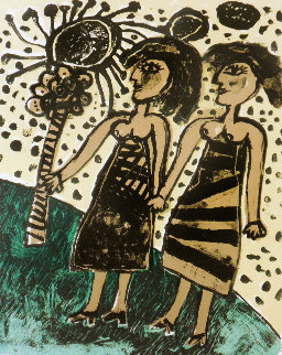 Les Deux Soeurs the Two Sisters 1969 Limited Edition Print by Guillaume Corneille