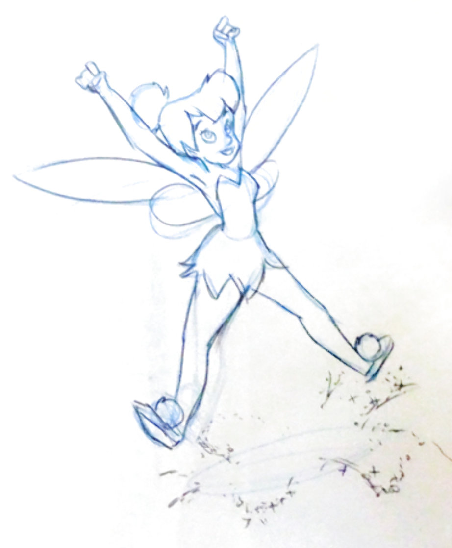 Return to Never Land Tinker Bell Animation Drawing (Disney) 2002 19x14 Drawing by  Courvoisier Disney Cels