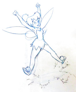 Return to Never Land Tinker Bell Animation Drawing (Disney) 2002 19x14 Drawing -  Courvoisier Disney Cels