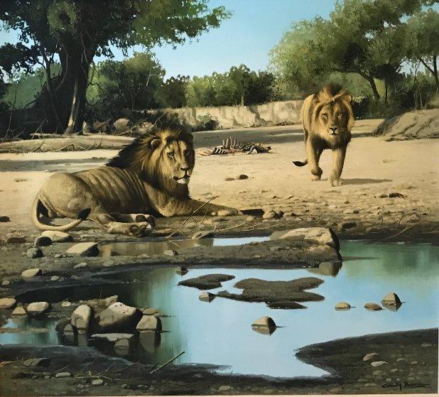 Lion Kill At Shitake Springs 30x32 Original Painting by Craig Bone