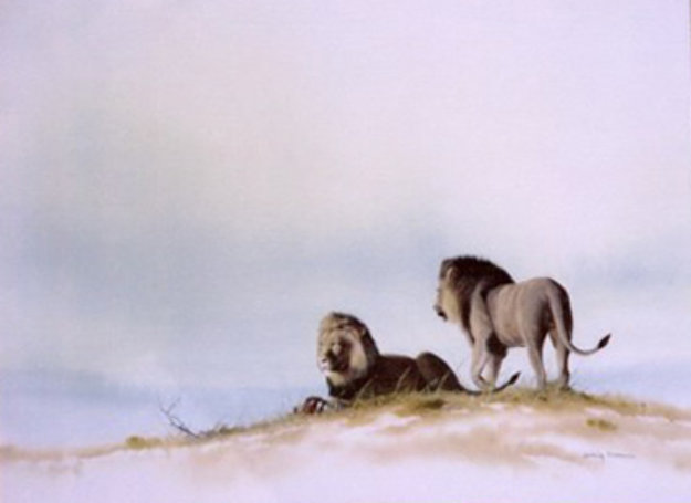 Two Male Lions Watercolor 1995 17x21 Watercolor by Craig Bone