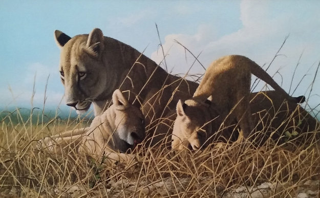 Mother Feeding Cubs 24x32 Original Painting by Craig Bone