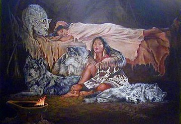 Wolves And Caribou; My Furs And Friends 1993 Limited Edition Print - Penni Anne Cross