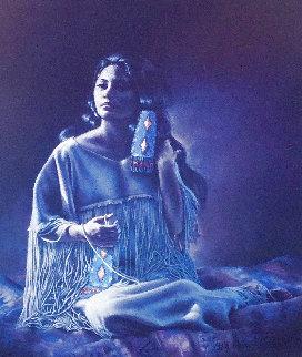 Blue Beaded Hair Ties AP 1983 Limited Edition Print - Penni Anne Cross