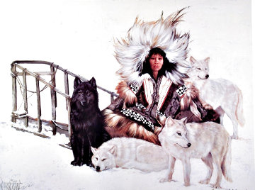 Woman With Her Wolves, Agnjnauq Amguut; Inupiaq 1990 Limited Edition Print - Penni Anne Cross