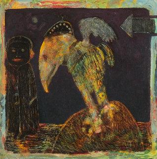 Birdwatcher 1994 12x12 Original Painting by Walter Crump