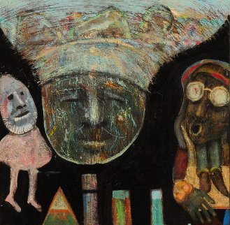 Four Things And Three Heads 2000 12x12 Original Painting - Walter Crump