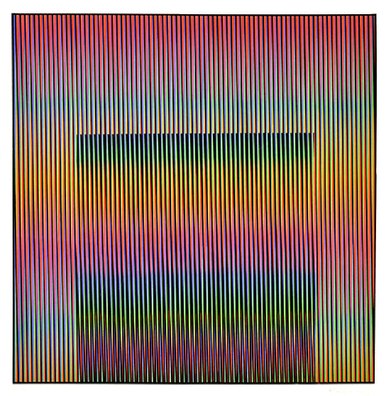 Untitled Screenprint 1987 by Carlos Cruz-Diez