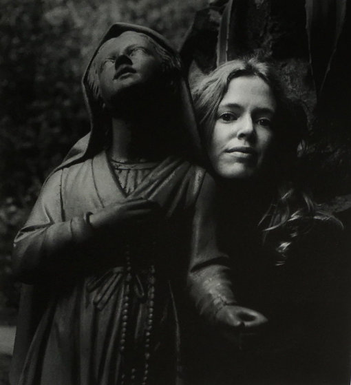 Untitled (Girl Posing With Statue St Bernadette) 1973 Photography by Imogen Cunningham