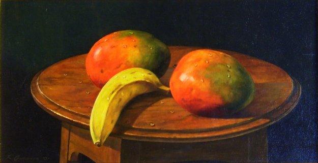Mangos and Bananas 1991 12x24 Original Painting by Richard Currier