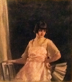 Portrait of Poppy Lowe 1922 18x16 Original Painting - Stanley Cursiter