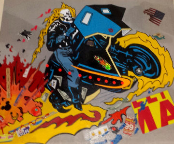 Ghost Ryder 2007 48x40 Huge Original Painting - Ronnie Cutrone