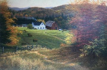 Lakeside Farm 2001 32x44 Super Huge Original Painting - Charles White