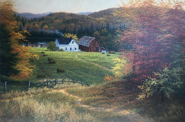 Lakeside Farm 2001 32x44 Original Painting by Charles White