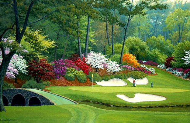 12th Hole of Augusta National 2011 32x44 Original Painting by Charles White