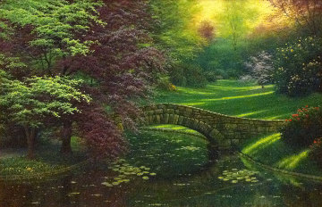 Evening in the Garden 2000 24x36 Original Painting - Charles White