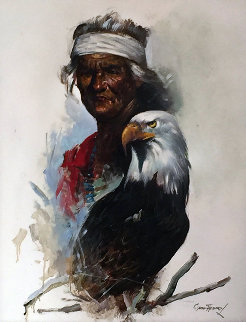 Untitled (Portrait of Indian Chief) 2002 31x24 Original Painting - Cyrus Afsary
