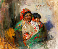 Mother and Child 1990 29x33 Original Painting by Cyrus Afsary - 0