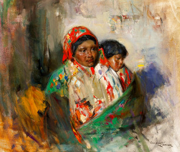 Mother and Child 1990 29x33 Original Painting - Cyrus Afsary