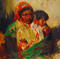 Mother and Child 1990 29x33 Original Painting by Cyrus Afsary - 2