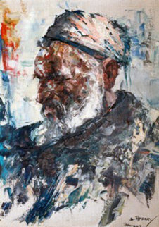 Portrait of an Islamic Man 1975 19x15 Original Painting - Cyrus Afsary
