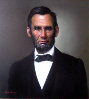 Abraham Lincoln 1960 28x30 Original Painting - Cyrus Afsary