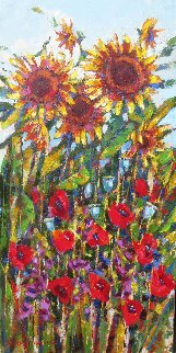 Sunflowers And Poppies 2011 48x24 Original Painting - Roman Czerwinski