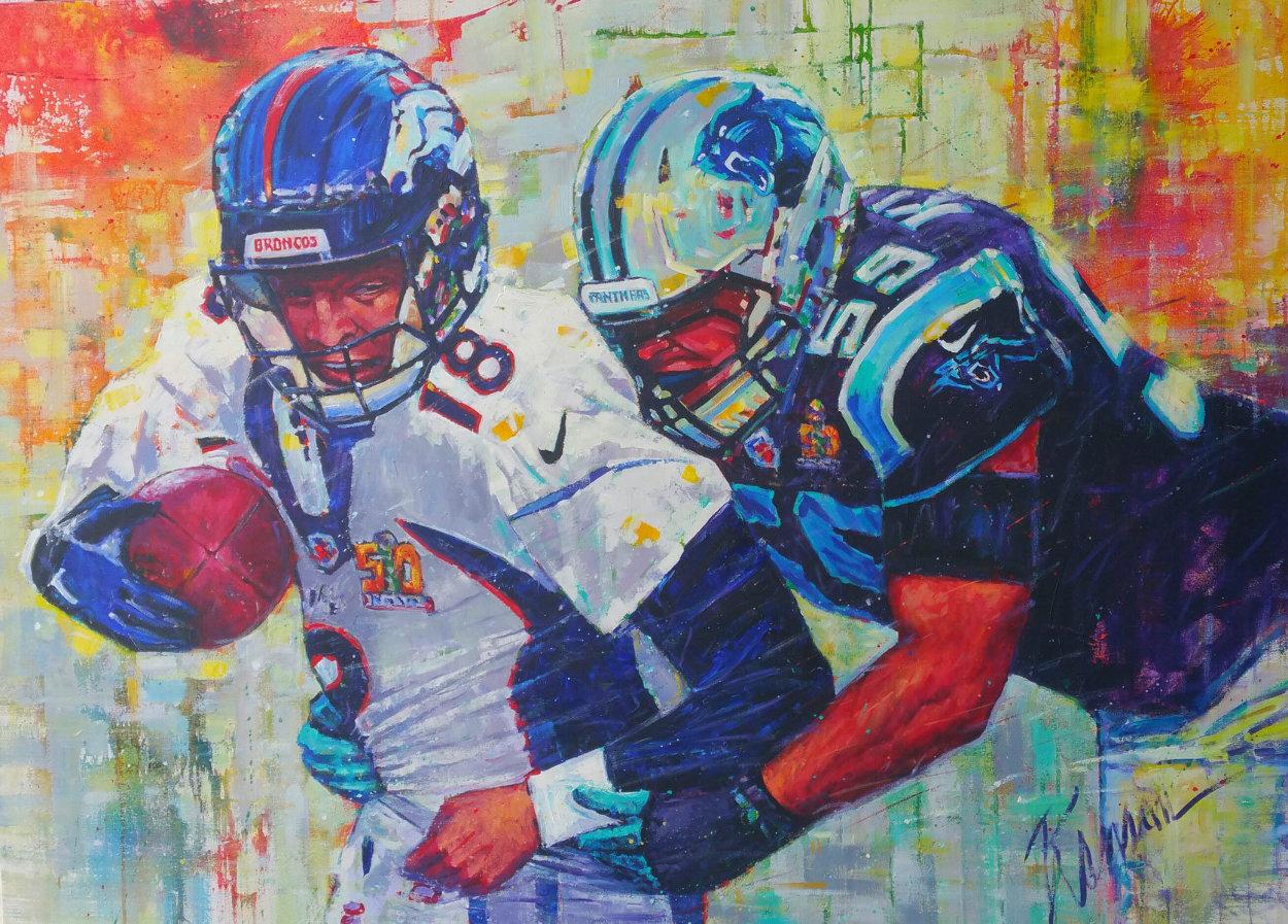 Golden Champions 2015 48x66 Huge - Peyton Manning Superbowl Original Painting by Roman Czerwinski