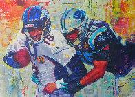 Golden Champions 2015 48x66 Huge - Peyton Manning Superbowl Original Painting by Roman Czerwinski - 0