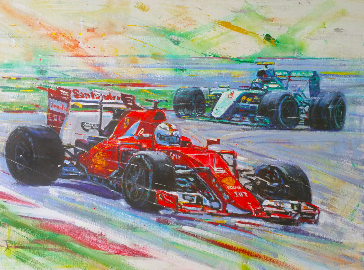 Formula 1 Race 2015 36x48 Huge Original Painting by Roman Czerwinski