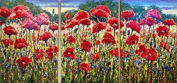 Poppies Paradise 2014 36x72 Original Painting - Roman Czerwinski