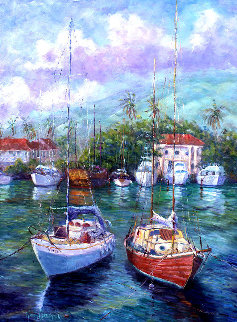Colors of the Harbor -  Lahaina, Maui, Hawaii 1988 52x40 Original Painting - Roman Czerwinski