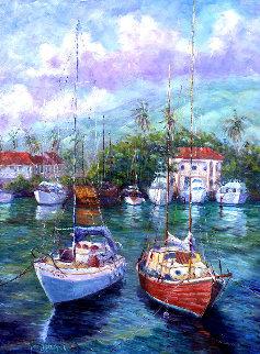 Colors of the Harbor -  Lahaina, Maui, Hawaii 1988 52x40 Super Huge Original Painting - Roman Czerwinski