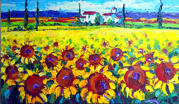 Sunflower Dream 2015 44x26 Original Painting - Roman Czerwinski