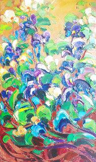 Iris Garden 2015 30x18 Original Painting - Roman Czerwinski