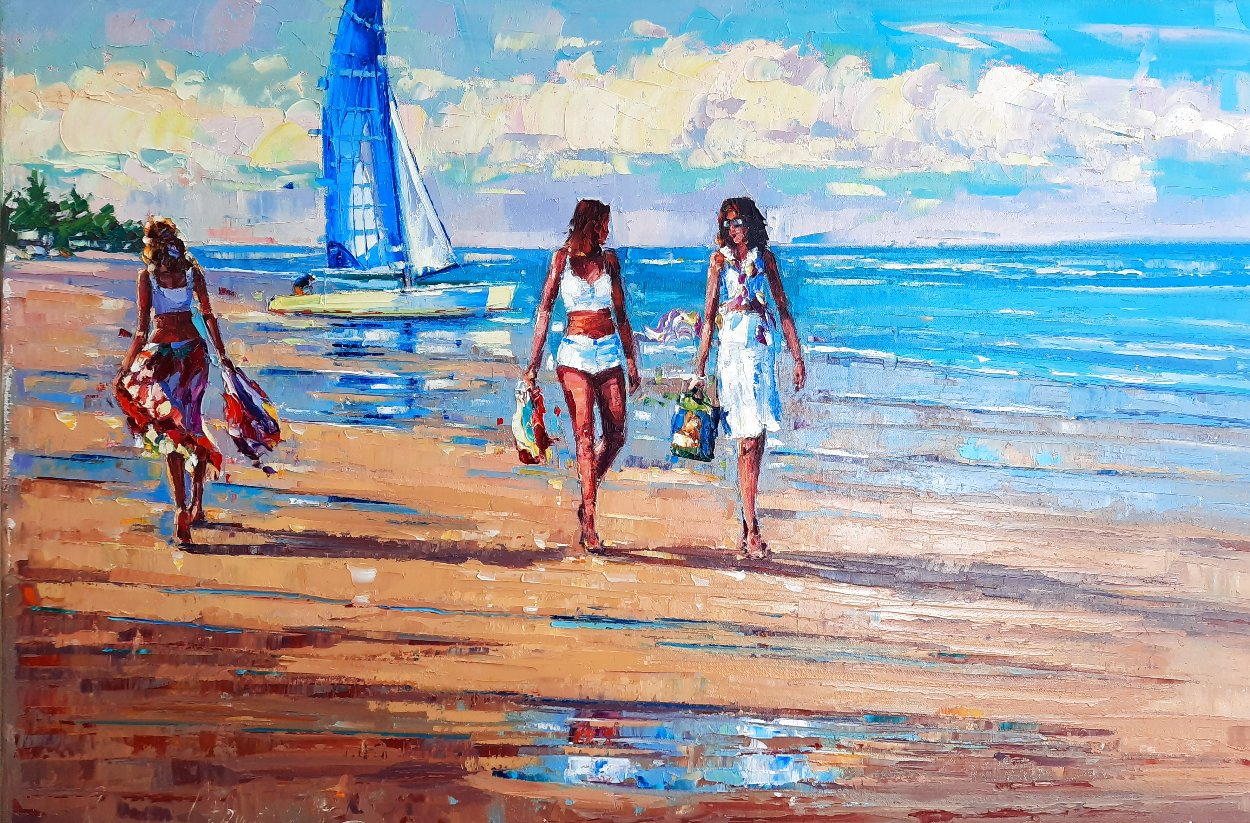 Beach Walk 2016 20x30 Original Painting by Roman Czerwinski