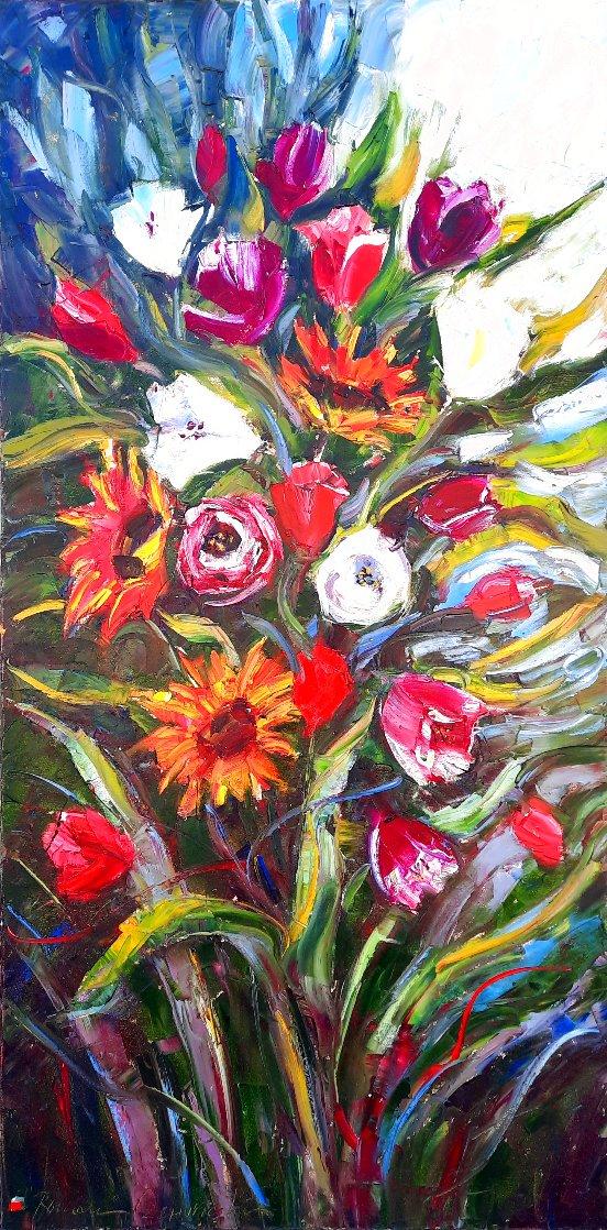 Sunflowers And Tulips Original Painting by Roman Czerwinski