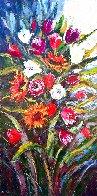Sunflowers And Tulips Original Painting by Roman Czerwinski - 0