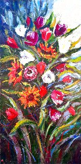 Sunflowers And Tulips 48x24 Huge Original Painting - Roman Czerwinski