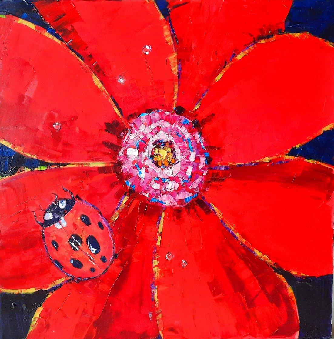 Ladybug Original 2005 24x24 Original Painting by Roman Czerwinski