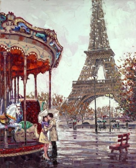 Amour E Paris 2014 62x50 Original Painting by Roman Czerwinski