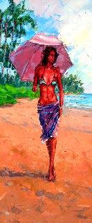 Paradise Reflection 2014 36x18 Original Painting - Roman Czerwinski