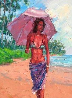 Island Reflection 2014 36x18 Original Painting by Roman Czerwinski