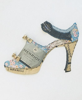 Rue De Richelieu Champagne Shoe Collage (Henriot) 2008 33x26 Works on Paper (not prints) - Pamela Dale