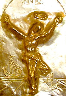 Christ St. John of the Cross Bas Relief Bronze Sculpture 1975 Sculpture - Salvador Dali